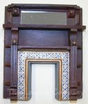1086 - Victorian Mirrored Fireplace, Wood Grained, Painted Tiles