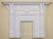 1092 - Eastlake Fireplace, Wood Grained w/Hand-Painted Tiles