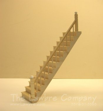 1101 - Straight Staircase, Smooth Spindle, 1 Rail Right Side
