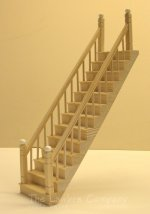 1106 - Straight Staircase, Smooth Spindle, Railing on Both Sides