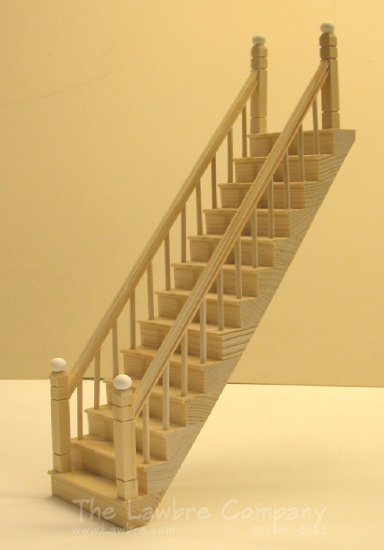 1106 - Straight Staircase, Smooth Spindle, Railing on Both Sides - Click Image to Close