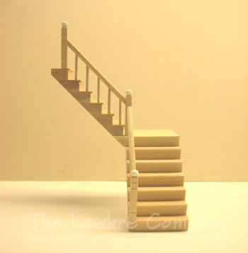 1112 - One-Landing Staircase, Smooth Spindle, Rail on Left Side