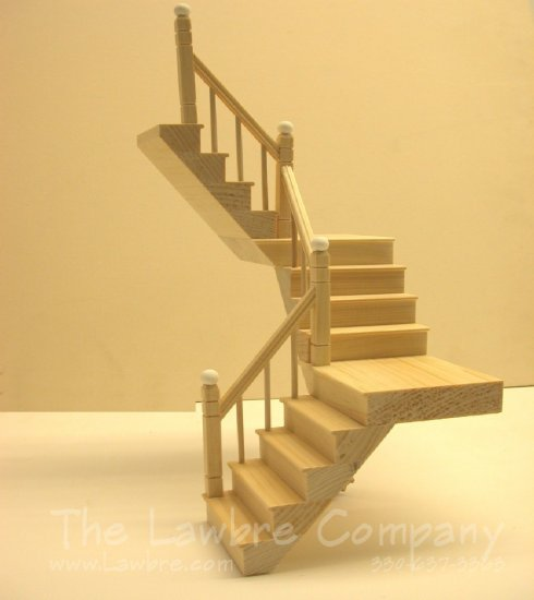 1117 - Two-Landing Staircase, Smooth Spindle, Left Rail, 180° - Click Image to Close