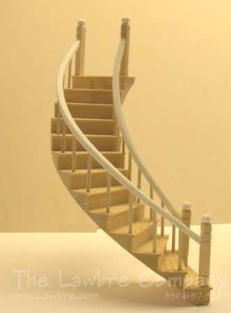 1126 - Curved Staircase, Smooth Spindle, 2 Rails, Right Curve