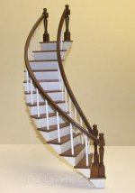 1174 - Mahogany Curved Staircase, 2 Rail, Single Turned Spindles