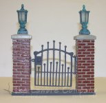 0450 - (B) Brick & ''Iron'' Gate Unit with Wired Lanterns