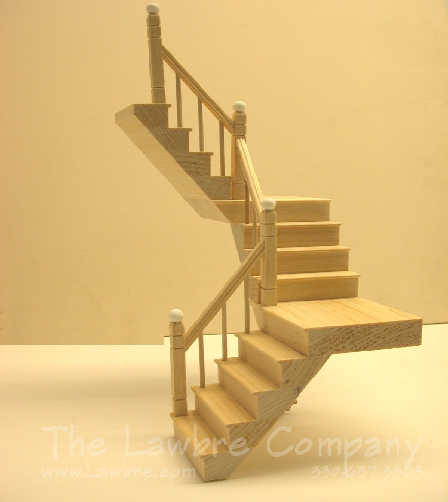1117 Two Landing Staircase Smooth Spindle Left Rail